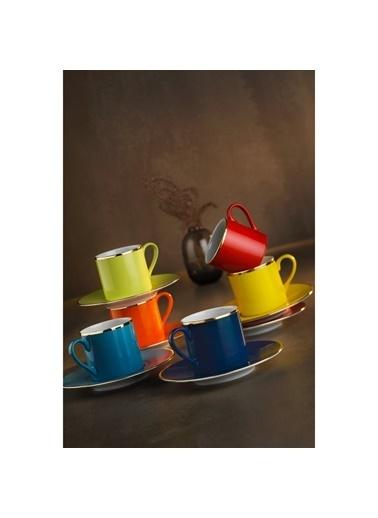 Kütahya Porselen Kütahya Porselen Rüya Renkli Kahve Fincan Takımı Renkli